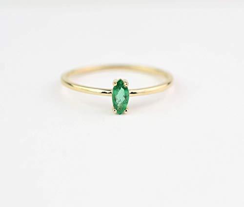 Emerald Ring/Natural Emerald Ring/ 14k Gold Emerald/Columbian Emerald Ring/May Birthstone Ring
