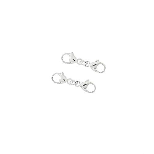 egemmall 2 Sets Sterling Silver Extra Small Double Lobster Claw Clasp Extender Connector 19.5mm (0.75