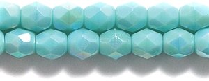 (Preciosa Czech Fire 4 mm Faceted Round Polished Glass Bead, Opaque Turquoise Green Aurora Borealis Finish, 100-Pack)
