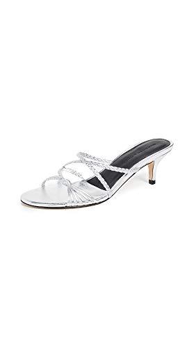 (Sigerson Morrison Women's Fyona Kitten Heel Slides, Silver, 37.5 M EU)