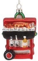 On Holiday Glitzy Glass Red Grill Grilling Outdoor Christmas Tree Ornament