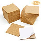80 Pcs SelfAdhesive Cork Sheets 4quotx 4quot for DIY Coasters Square Cork Coasters Cork Tiles Cork Mats Mini Wall Cork Tiles with Strong Self Adhesive Backing by Blisstime