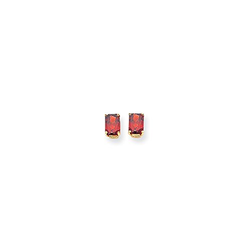 14k Yellow Gold 7x5mm Emerald-Cut Garnet Earrings. Gem Wt- 2.6ct