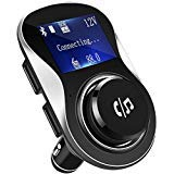 "FM Transmitter, Tinzzi Bluetooth Wireless Radio Adapter Car Kit with Dual USB Charging Ports, 1.4"" LCD Display and Hands Free Calling for iPhone, Samsung, etc"