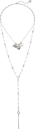 Charms Necklace and Y Station Duo Silver/Crystal One Size (3 Strand Charm Necklace)