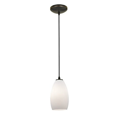 "Access Lighting 28012-3C-ORB/OPL Champagne - 9"" 11W 1 LED Cord Pendant, Glass Options: Opal"