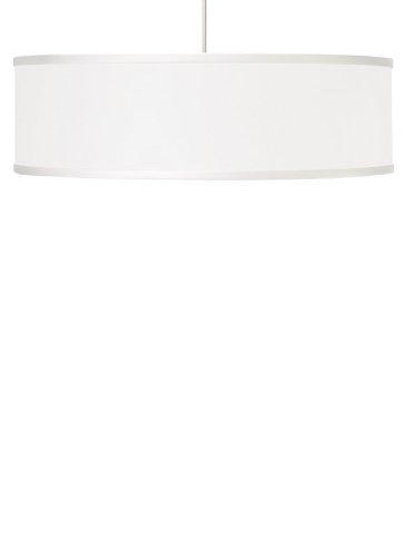 White Satin Nickel Fluorescent Drum - T-Trak 700TTMULPWW-CF Mulberry - One Light Pendant, Satin Nickel Finish with White Glass - Compact Fluorescent Lamping