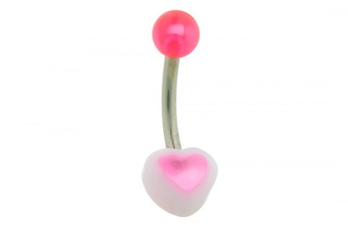 Wehi Lani Small Heart Belly Button Ring (WL106) (Wehi Lani Small Pink Heart Belly Button Ring (WL106Pi))