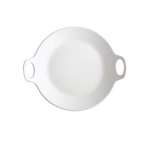 Nordic style tableware baking breakfast dish matte glaze panel steak cake fruit dinner plate 20 23.5 3 CM (Color : White)
