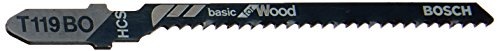 Bosch T119BO3 3-Piece 3-1/4 In. 12 TPI Basic Wood Cutting T-Shank Jig Saw Blades
