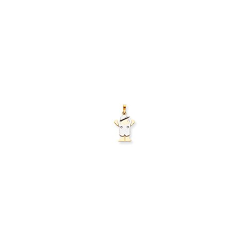14k Two-Tone Small Boy w/Hat on Left Charm Mounting, 14 kt White and Yellow - Two Tone Mounting Gold
