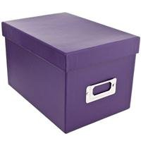 Pioneer Photo CD & DVD Storage Box with Solid Color Exterior, Holds 21 CDs & 10 DVDs, Color: Bright Purple.