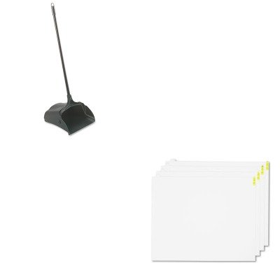 KITCWNWCRPLPDWRCP253100BK - Value Kit - White Walk-N-Clean Replacement Pads, 30quot; x 24quot; (CWNWCRPLPDW) and Rubbermaid-Black Lobby Pro Upright Dust Pan, Open Style (RCP253100BK)