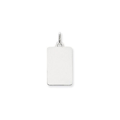 14k White Gold .013 Gauge Rectangular Engravable Pendant Charm Necklace Disc Square Rectangle Fine Jewelry Gifts For Women For - Gold Keychain Yellow 14kt