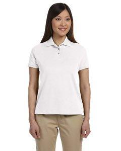 (Devon & Jones Women's Short Sleeve Solid Perfect Pima Interlock Polo Shirt D140SW white X-Large)