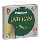 PANASONIC DVD-RAM 4.7GB 5/PK 2-3X W/O CARTRIDGE