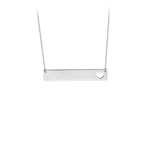 Sterling Silver Rhodium Plated Cutout Heart Adjustable Bar Necklace - 18 -