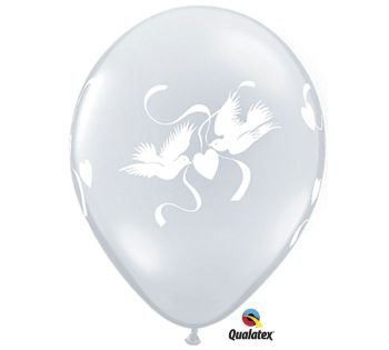 Love Doves Diamond - Wedding Love Doves Qualatex Balloons, Diamond Clear 25 Per Pack
