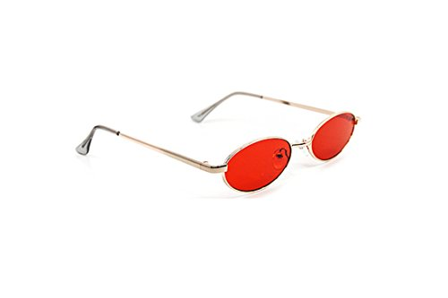 Small Frame Oval Sunglasses (Gold, Red)