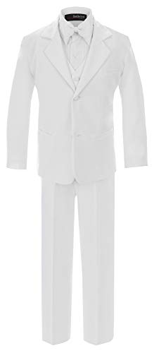 - Little Boy's Usher Tuxedo Suit No Tail G210 (4T, White)