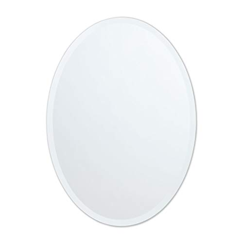 Small Frameless Beveled Oval Wall Mirror | Bathroom, Vanity, Bedroom Mirror | -
