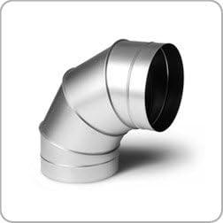 ducting galvanised Ventilation hydroponics 90 Degree fabricated Bend 224mm Diameter