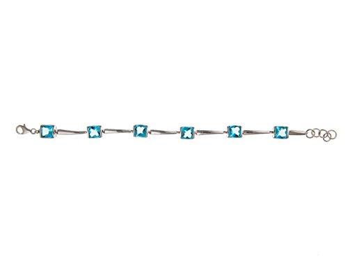 Superbe Argent de barre de liens Bleu aigue-marine Oxyde de Zirconium (CZ) Bracelet-20,3cm pouces-Argent Sterling 925-Livré dans une boîte cadeau gratuit/sac cadeau