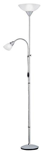 Reality Leuchten R4393-87 Fluter, mit Lesearm, 1x E27 + 1x E14, silberfarben, Schirme in weiß