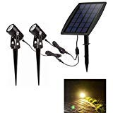 Led Solar Powered Spot Lights,Outdoor Low Voltage Garden Spotlights, Security Landscape Lighting for Outside Yard Lawn Deck Exterior Pool Walls Trees Ground Decoration,Warm Light