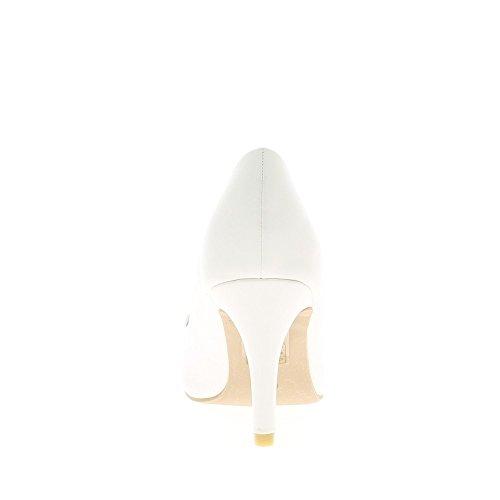 Escarpins femme blancs à talon fin de 8,5cm