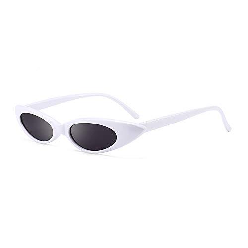 Happizza Mini Vintage Retro Narrow Oval Round Skinny Cat Eye Womens Sunglasses (white/gray) for $<!--$6.99-->