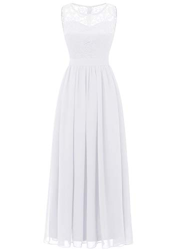 Dressystar 0046 Lace Chiffon Bridesmaid Dress Sleeveless Formal Wedding Party Dress White L