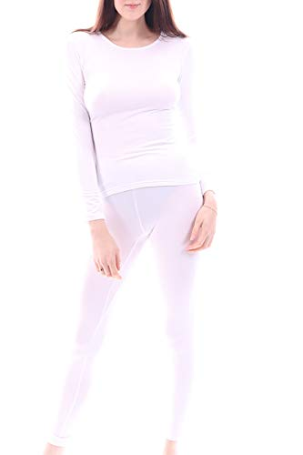 Women's Microfiber Fleece Thermal Underwear Long Johns Set AZ 2000 White XXL