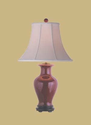 PORCELAIN OX-BLOOD VASE LAMP