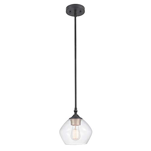 - Globe Electric Harrow 1-Light Pendant, Matte Black, Gold Accent Socket, Clear Glass Shade 60312