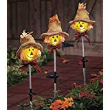 Set of 3 Whimsical Cute Autumn Harvest Scarecrow Outdoor Yard Garden Stake Christmas Decor]()
