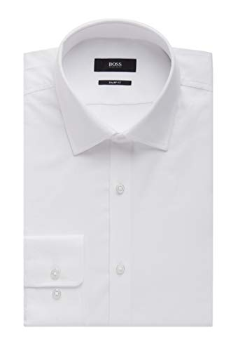 Hugo Boss Men's 'Marley US' White Sharp Fit Nailhead Dress Dress Shirt 17.5, 34/35