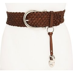 Michael Michael Kors Braided Leather Belt,Dark brown Size M