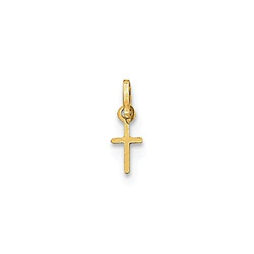 14k Gold Tiny Cross Charm Pendant (0.55 in x 0.2 in)