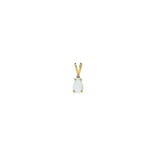 - C.Hersh Genuine Opal Cabochon & Diamond Polished Pendant in 14k Yellow Gold Mounting