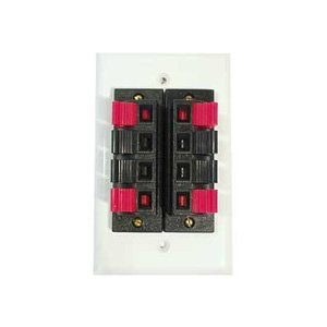 Speaker Wall Plate w/ Two 4-Position Terminals - White : 75-678
