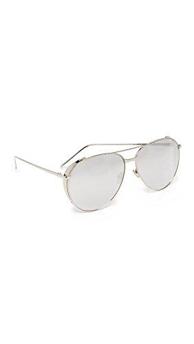 Linda Farrow Luxe Women's Mirrored Aviator Sunglasses, White Gold/Platinum, One - Linda Sunglasses Farrow