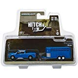 (2016 Ford F-150 4X4 Pickup Truck with Livestock Trailer Blue Hitch & Tow Series 14 1/64 Diecast Models by Greenlight 32140 C )