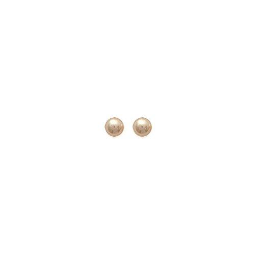 MARY JANE - Boucles d'oreilles Argent Femme/Homme/Fille/Garçon - Diam:5mm - Argent 925/000-Perle synthétique (Boule / Perle)