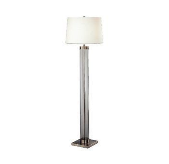 (Robert Abbey D3320 Lamps with Off-White Cotton and Rolled Edge Hem Shades, Clear Glass Column/Dark Antique Nickel Accents Finish)