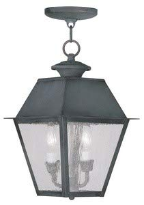 Livex Lighting 2167-61 Mansfield - Two Light Outdoor Hanging Lantern, Charcoal Finish with Seeded Glass