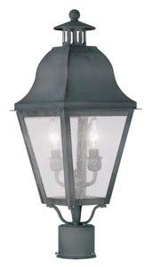 Livex Lighting 2552-61 Amwell - Two Light Post, Charcoal Finish with Seeded Glass