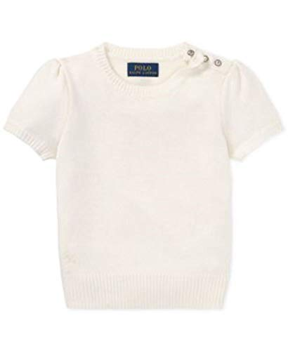 Ralph Lauren Girls Wool Sweater Short Sleeve White 5