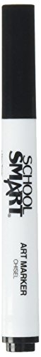 School Smart Non-Toxic Art Marker, Chisel Tip, Black, Pack of 12