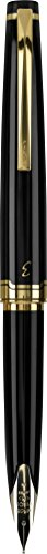 Pilot E95s Fountain Pen, Black Barrel with Gold Accents, Blue Ink, Extra Fine Nib (60836)